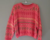 SALE Aztec Orange Crush 80s Crop Sweater