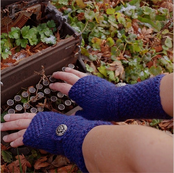 Hand knit royal blue merino alpaca blend fingerless gloves with bracelet wrist band and vintage buttons