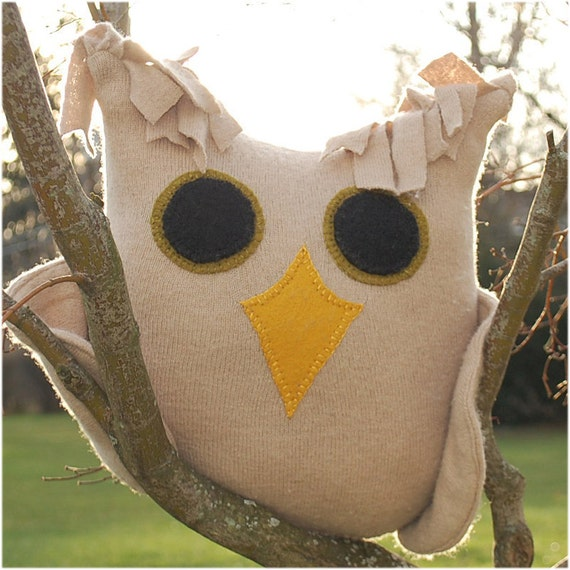 Unusual Species of Cashmere Owl, camel tan green and yellow recycled repurposed felted wool stuffed, plush animal pillow