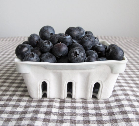 IN STOCK: Porcelain Berry Basket with Ice Blue Glaze