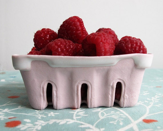 Porcelain Berry Basket - Pink Porcelain with Snowy White Glaze