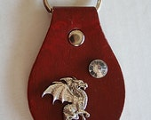 Leather hand painted key fob keychain dragon and crystal