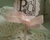 Classic Winnie the Pooh and Piglet Cupcake Topper Treat Topper Mini Food Picks Ivory and Pink Shower Set of 12ECS