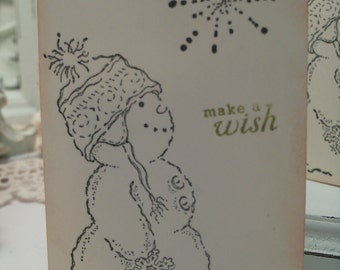 Snowman Gift Tags...Make A Wish Winter Tags ...Set of 5 ECS