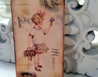 Bluebird Gift Tags...My Little Bluebird....Victorian Girl with Bird ..Set of 6 Sweet Bluebird Tags...ECS