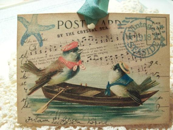 Down by the Sea Summer Birdie Sailors Vintage Seaside