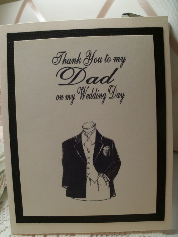 Thank You To My Dad on My Wedding Day Card  Black and Ivory Card  ECS
