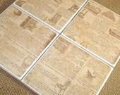 4x4 Tile Coasters No. 014 - Newspaper Print