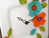 Wall Clock - Teal Orange and Yellow Floral Ceramic Plate Wall Clock No. 767 (10-1/2 inches)