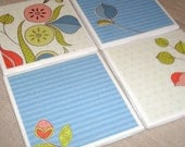 4x4 Tile Coasters No. 015 - Whimsical Floral and Blue Stripes