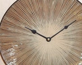 Wall Clock - Brown Tan and Black Fireworks Ceramic Plate Wall Clock No. 841 (11-1/2 inches)