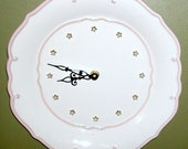 RESERVED RESERVED Wall Clock White with Pink Trim Ceramic Plate No. 625 (10-1/2 inches)