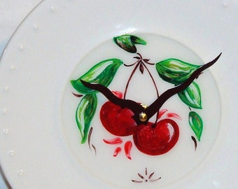 Hand Painted Cherry Duo Plate Wall Clock No. 521 (9 Inches)