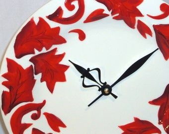 Wall Clock - Vibrant Red Leaves Porcelain Plate Wall Clock No. 633 (11 inches)