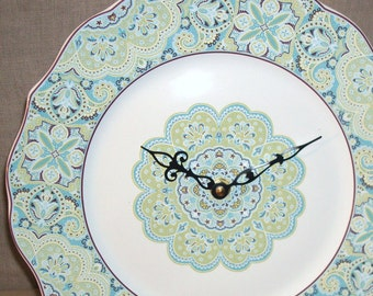 Pastel Turquoise and Lime Floral Wall Clock 10-1/2 Inches, Porcelain Plate Clock, Kitchen Clock, Unique Wall Clock, Kitchen Decor - 2087