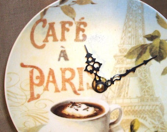 Paris Wall Clock 6 Inches SILENT, Paris Cafe Porcelain Plate Wall Clock, Eiffel Tower Clock, Coffee Clock, Small Clock, Kitchen Clock - 803