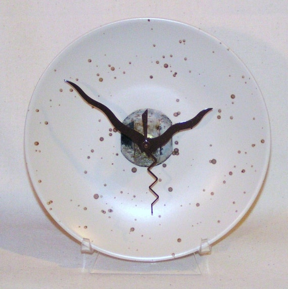 SALE SALE Bone and Brown Speckled Plate Desk or Wall Clock (7 inches) No. 243