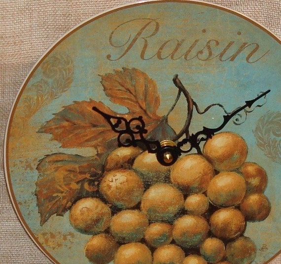 RESERVED - Wall Clock - Grape Raisin French Shabby Plate Wall Clock No. 1078 (8-1/4 inches)