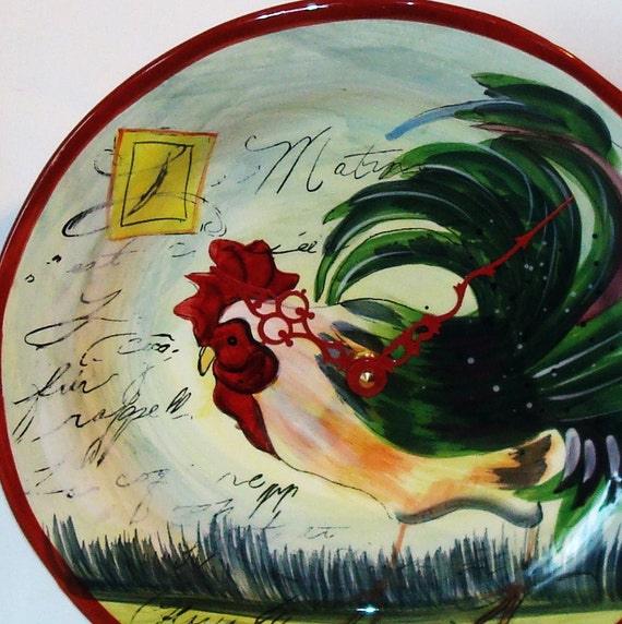 French Rooster Ceramic Plate Wall Clock No. 559 (11-1/2 inches)