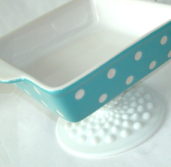 Turquoise and White Polka Dot Candy Dessert Jewelry Pedestal No. 077 (6 x 4-1/2 inches)