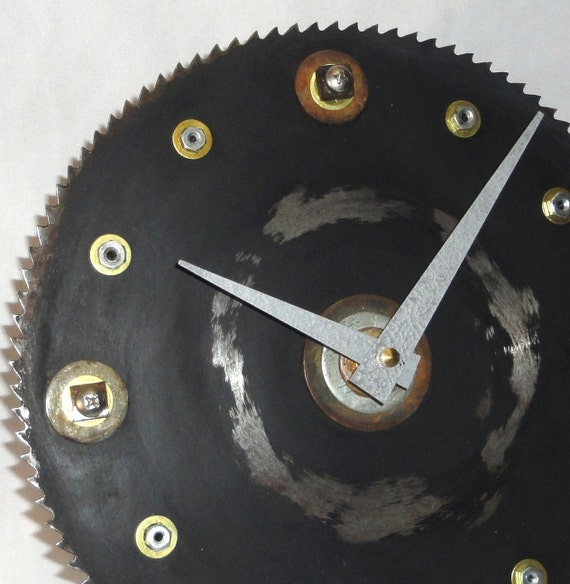 Salvaged Saw Blade and Hardware Wall Clock No. 491 (9 inches)