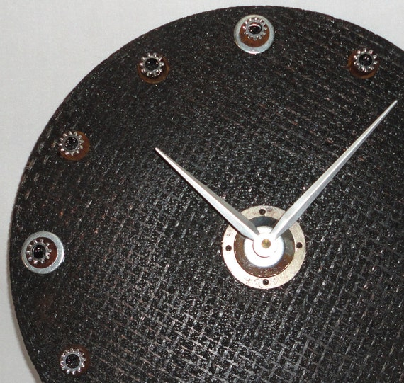 RESERVED - Wall Clock - Salvaged Sanding Disc and Hardware Wall Clock No. 666 (12 inches)