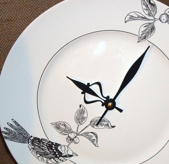 ON SALE - Black and White Bird on a Branch Porcelain Plate Wall Clock No. 719 (11 inches)