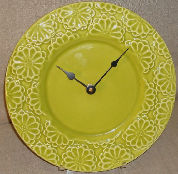 ON SALE - Pea Green Floral Ceramic Plate Wall Clock No. 743 (9-1/4 inches)