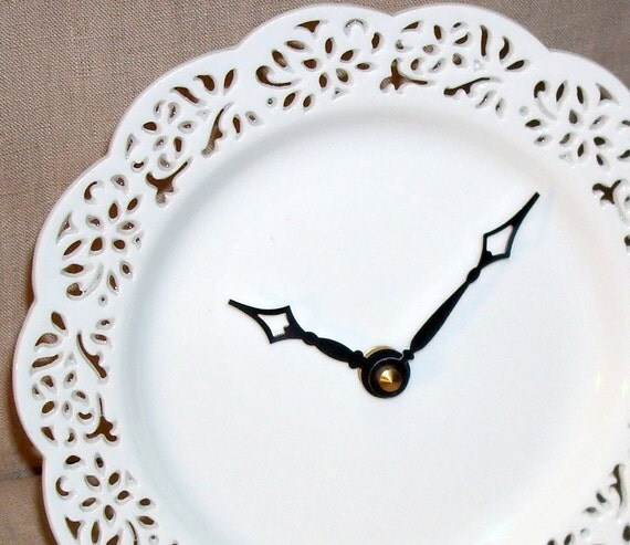 Wall Clock - Small Lacy White Porcelain Plate Wall Clock No. 812 (7-1/2 inches)