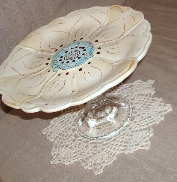 Cake Stand.  Dessert Plate.  Cream and Sky Blue Plate Pedestal No. 089 (5 x 8 inches)