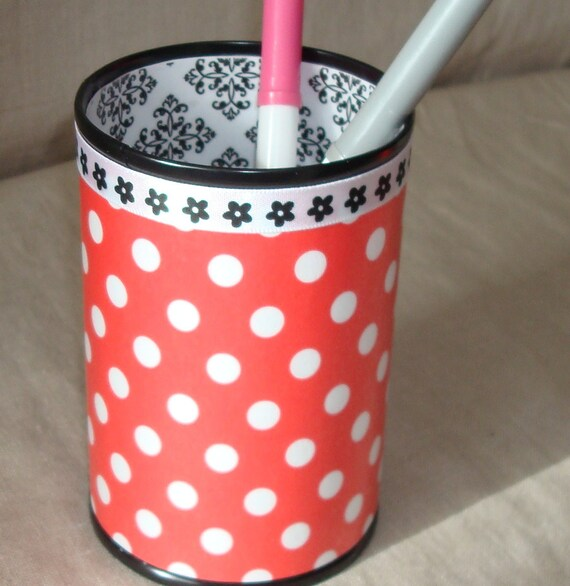 Red White and Black Polka Dot Damask Decorative Can Pencil Holder Desk Accessory No. 139