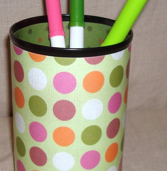 Pencil Holder - Green Pink Orange Polka Dot Desk Accessory Decorative Can No. 143