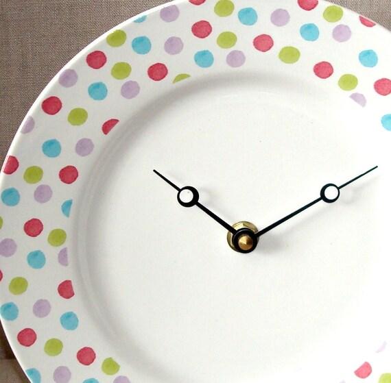 Pastel Polka Dot Porcelain Plate Wall Clock Nursery Clock Plate Clock No. 779 (8-1/4 inches)
