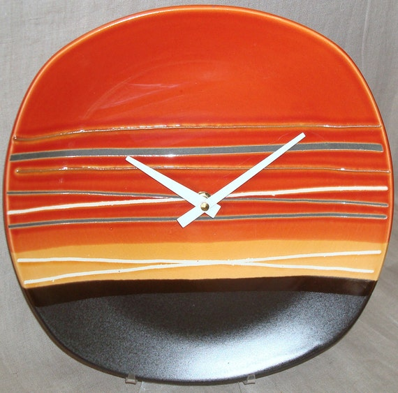 Wall clock burnt orange gold and brown stoneware plate wall clock
