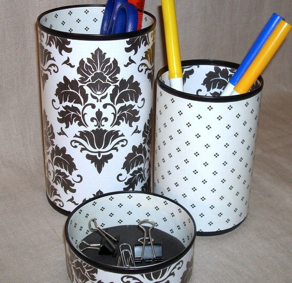 Pencil Holder Black and White Damask and Dots Decorative Can Desk Accessory Set No. 164