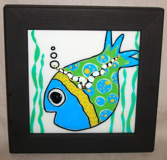Wall Clock - Hand Painted Whimsical Funky Fish Ceramic Tile Wall Clock No. 819 (7-3/4 inches)