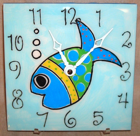 Wall Clock - Hand Painted Whimsical Funky Fish Ceramic Tile Wall Clock No. 831 (6 inches)