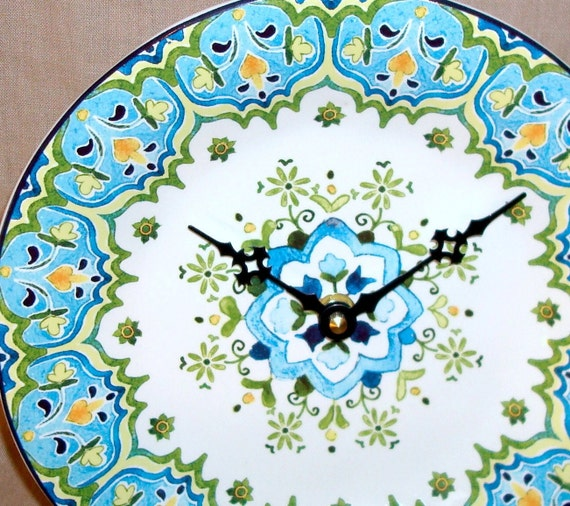 Wall Clock -  Turquoise and Lime Floral Print Ceramic Plate Wall Clock No. 908 (9-1/4 inches)