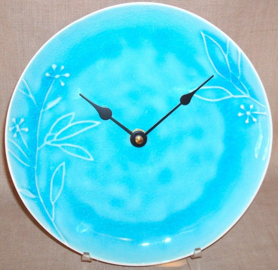 8 Inch Wall Clock - Turquoise Crackle Glazed Ceramic Plate Clock - Turquoise Home Decor -  No. 859 (8 inches)