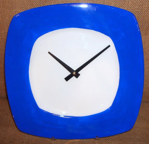 RESERVED RESERVED Wall Clock Cobalt Blue and White Porcelain Plate Wall Clock No. 878 (10-1/2 inches)