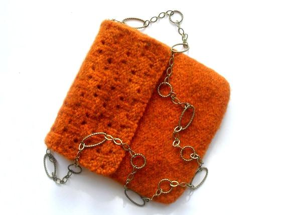 Sabine Hand Knit Felted Pumpkin Orange Wool Purse With Antiqued Brass Chain