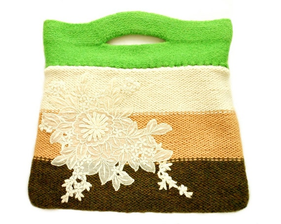 Eloise Felt Bag Purse Stripes Green Cream Brown Hand Knit Wool Silk Lace