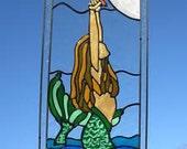 Mermaid and Starfish ocean nautical stained glass window