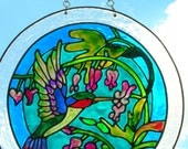Hummingbird in jungle with flowers Stained Glass WIndow 12 inches in circumference