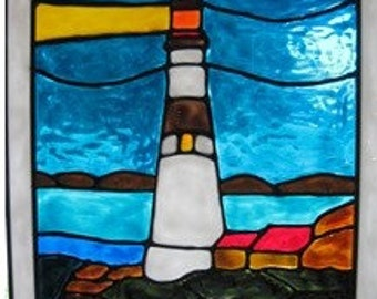 lighthouse ocean nautical stained glass window