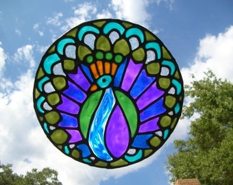 Peacock bird stained glass window Cling 7.5 diameter