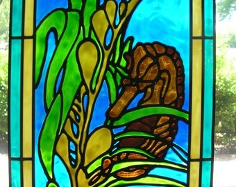 Seahorse and seaweed stained glass window