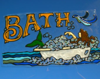 Mermaid in the bathtub stained glass window cling 7 x 12