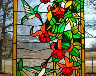 hummingbirds with red tropical flowers stained acrylic glass window