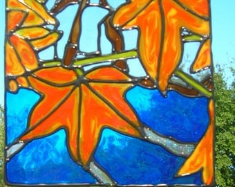 Fall leaves over water stained glass window cling 6.5 x 7